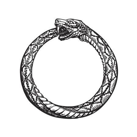67209558-ouroboros-la-serpiente-que-se-muerde-la-cola-eternidad-o-infinito-símbolo-aislado-en-el-fondo-blanco